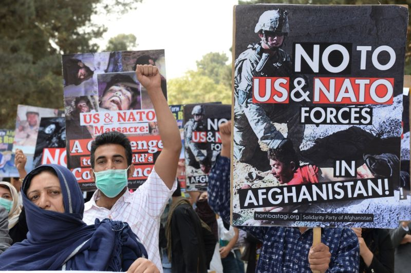 Members of the Solidarity Party of Afghanistan protest against the U.S.-led invasion of Afghanistan ahead of its 16th anniversary in Kabul on Oct. 6, 2017.