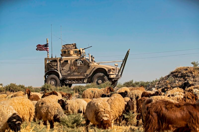 U.S. forces patrol the area of the town of Tel Tamer, in Syria's northeastern Hasakah province on Aug. 17.