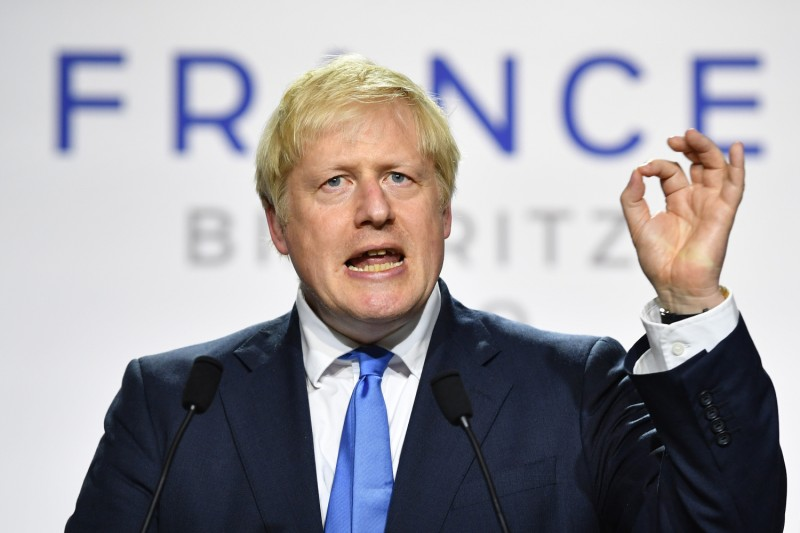 British Prime Minister Boris Johnson speaks during a press conference at the conclusion of the G-7 summit in Biarritz, France, on Aug. 24, 2019.