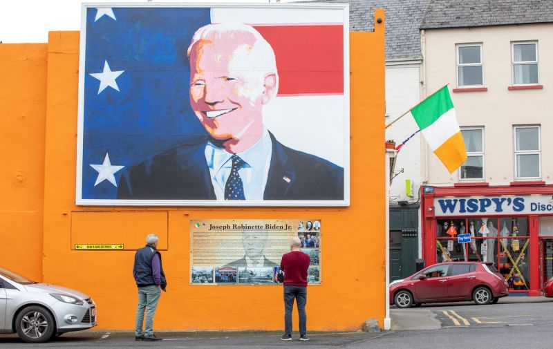 A giant painting of then-U.S. presidential candidate Joe Biden in Ireland
