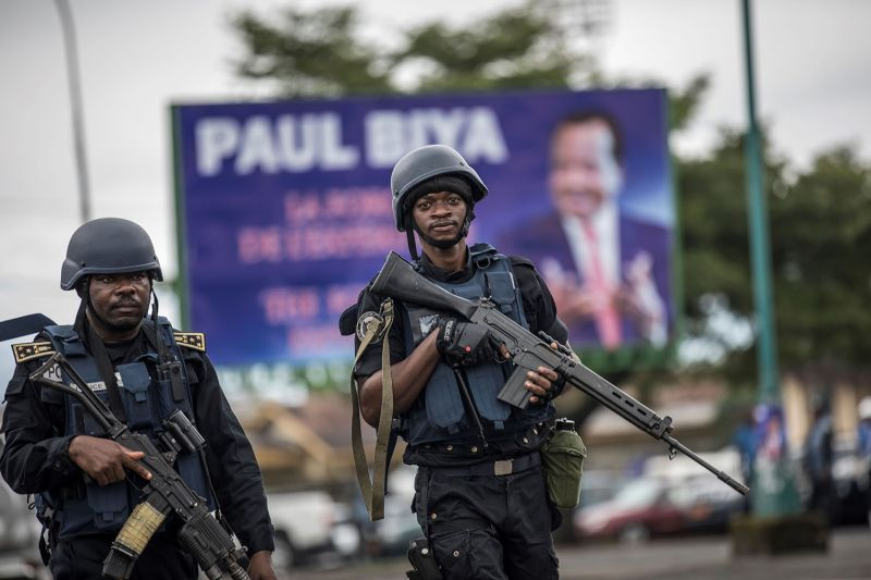 Members of the Cameroonian Gendarmerie patrol in the Omar Bongo Square of Cameroon's majority Anglophone Southwest province capital Buea on Oct. 3, 2018.