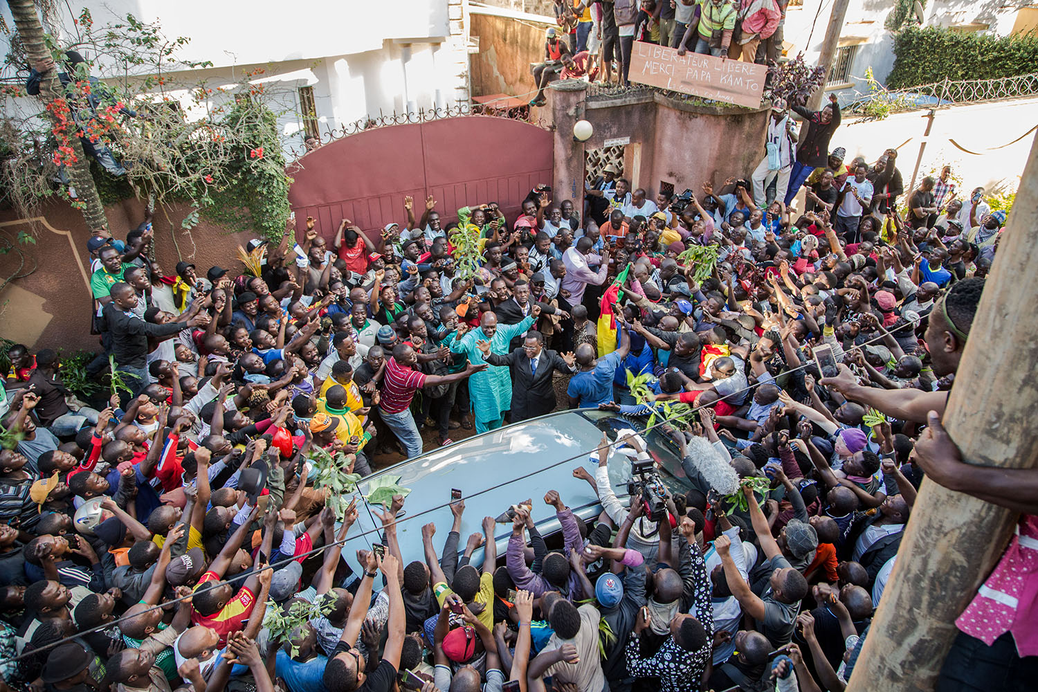 Cameroonian opposition leader Maurice Kamto is greeted by hundreds of supporters after his release from prison in Yaounde on Oct. 5, 2019.