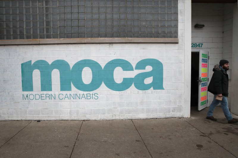 A customer leaves the MOCA Modern Cannabis dispensary in Chicago on on Jan. 22.
