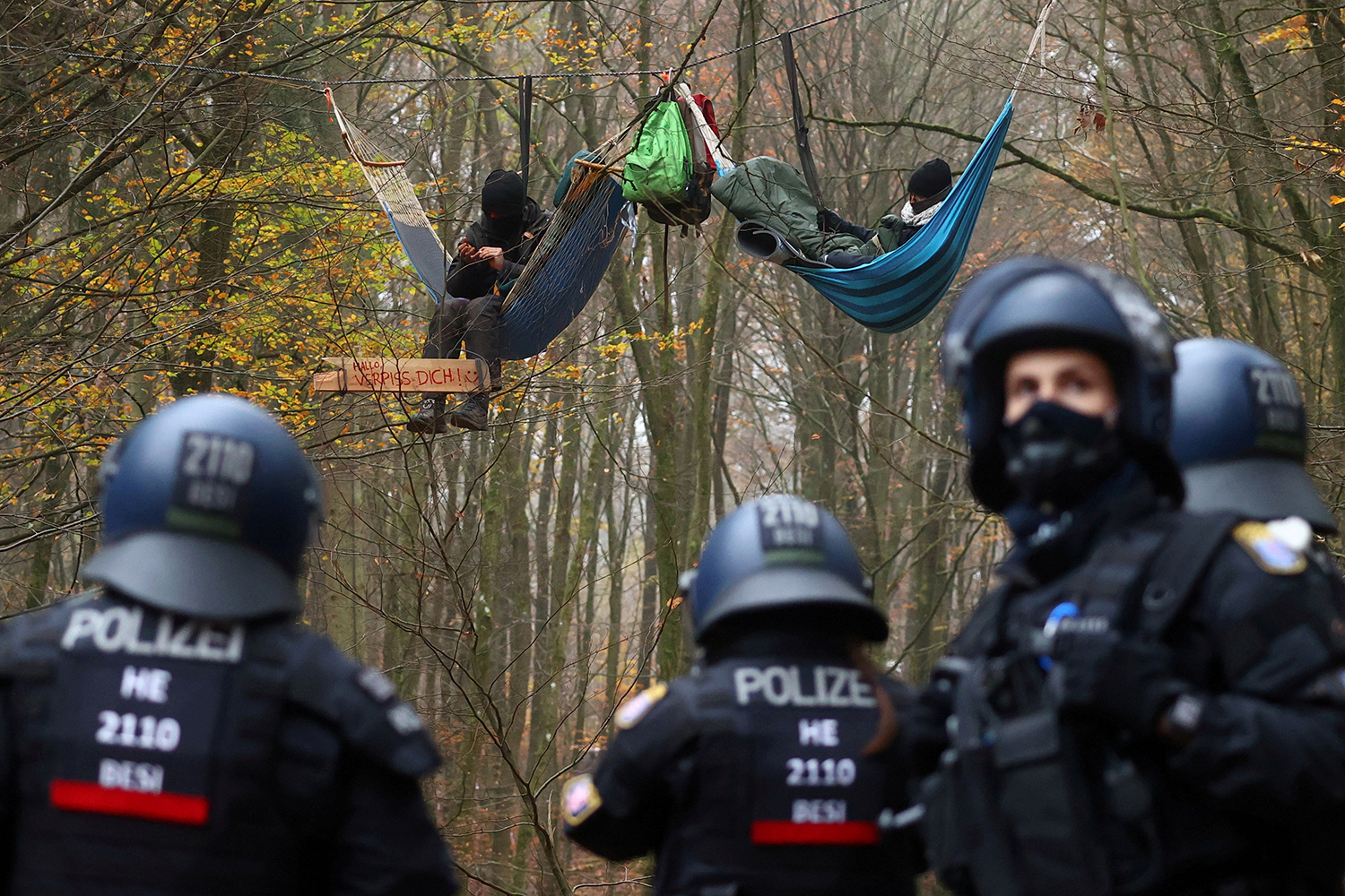 Demonstrators in hammocks hang from trees during a protest against the extension of the A49 motorway in a forest near Stadtallendorf, Germany, on Nov. 11. Kai Pfaffenbach/REUTERS