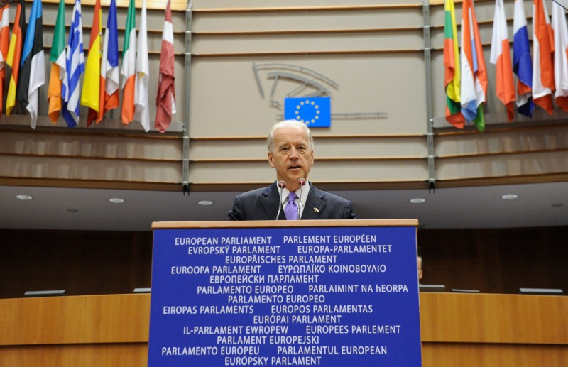 Joe Biden delivers a speech at the European Parliament at the EU headquarters in Brussels on May 6, 2010.