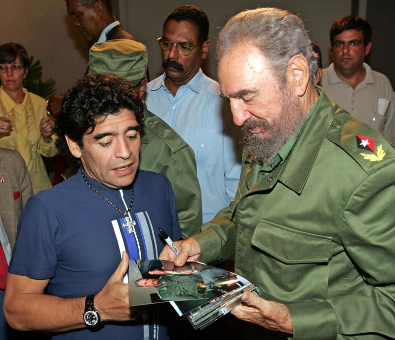 Argentinian soccer star Diego Armando Maradona talks to then-Cuban President Fidel Castro in October 2005.