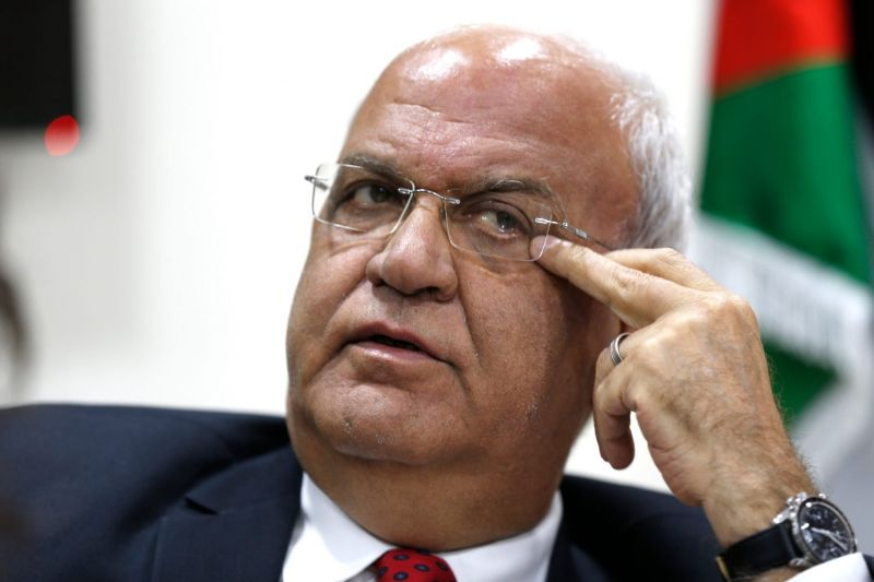 Saeb Erekat, secretary of the Palestine Liberation Organization, speaks during a press conference in the West Bank city Ramallah on April 10, 2019