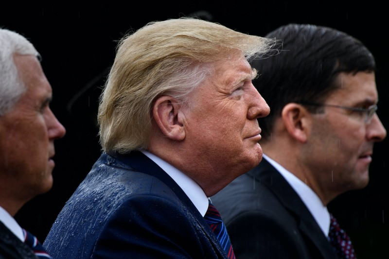 U.S. Vice President Mike Pence (from left), President Donald Trump, and Secretary of Defense Mark Esper