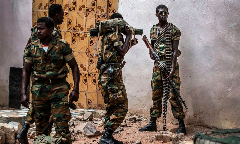 Heavily armed Ethiopian soldiers deployed in Somalia as part of the African Union peacekeeping mission patrol in Beledweyne, Somalia, on December 14, 2019. (Photo by Luis Tato/AFP via Getty Images)