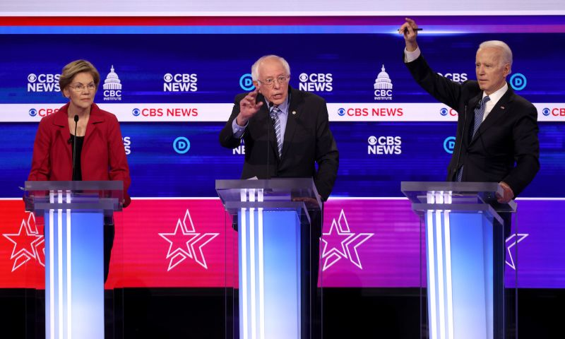 Sen. Elizabeth Warren (from left), Sen. Bernie Sanders, and former Vice President Joe Biden participate in the Democratic presidential primary debate in Charleston, South Carolina, on Feb. 25.