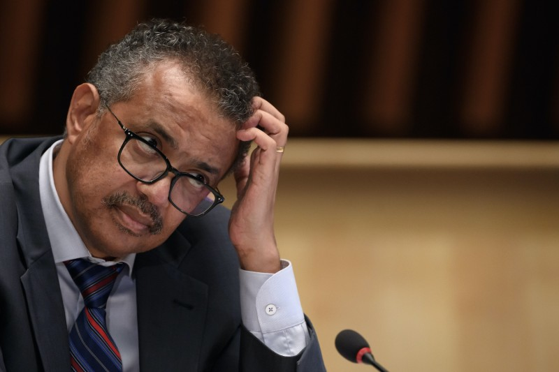 World Health Organization (WHO) Director-General Tedros Adhanom Ghebreyesus attends a press conference at WHO headquarters in Geneva on July 3, 2020.