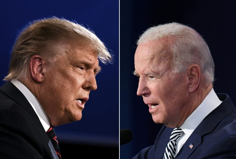 Donald Trump and Joe Biden squaring off during the first presidential debate at the Case Western Reserve University and Cleveland Clinic in Cleveland, Ohio on Sept. 29, 2020.