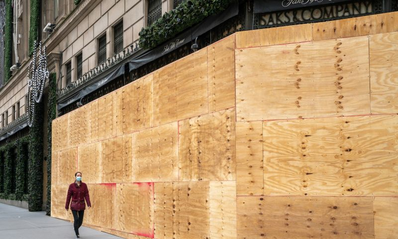 Saks Fifth Avenue boarded up its Manhattan storefront in anticipation of possible post-election violence in New York on Nov. 1.