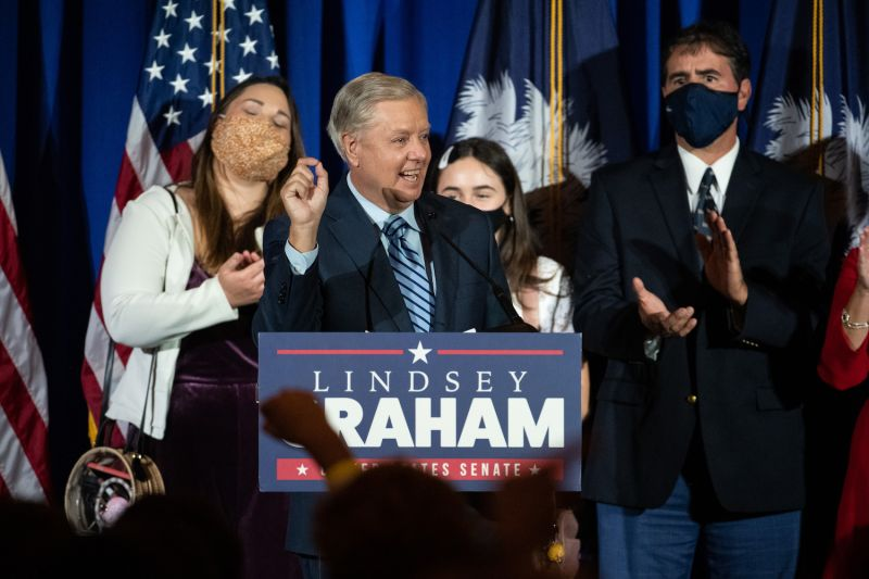 Sen. Lindsey Graham celebrates a reelection victory in the 2020 race.