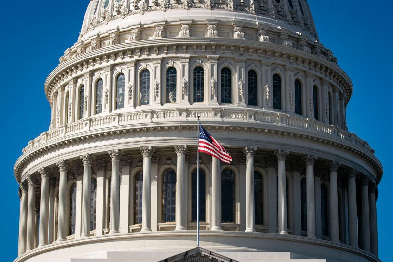 The American flag flies at the U.S. Capitol