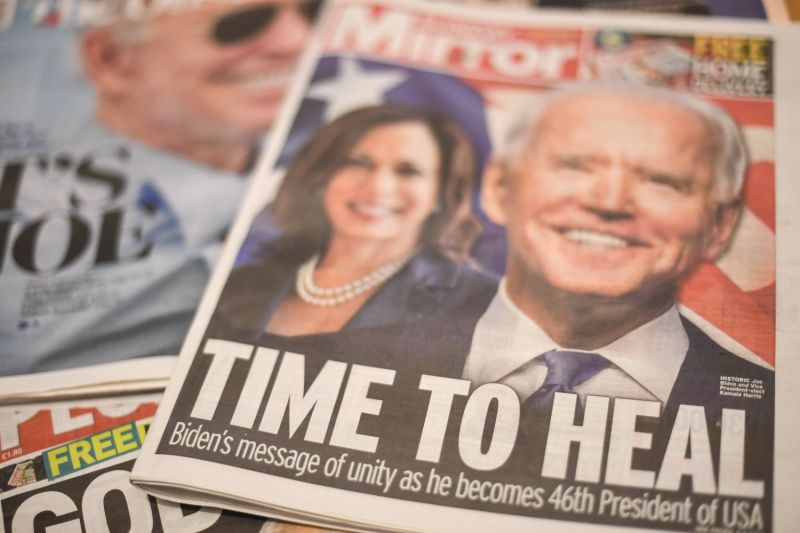 Joe Biden's U.S. election victory is seen on the front pages of British newspapers