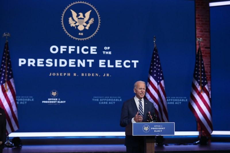 President-elect Joe Biden speaks to the media in Delaware.
