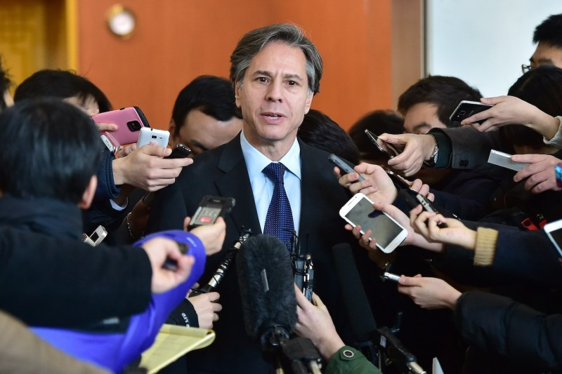 Then-U.S. Deputy Secretary of State Antony Blinken speaks to the media after a meeting with his South Korean counterpart Cho Tae-Yong at the foreign ministry in Seoul on February 9, 2015.