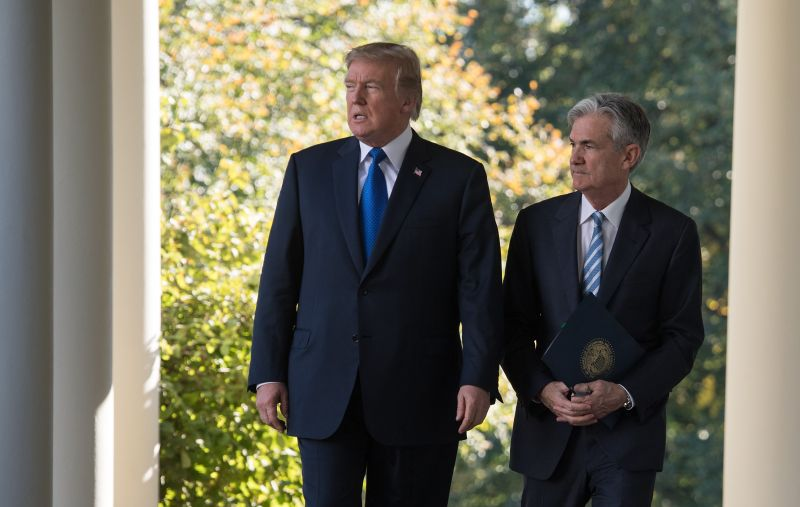 President Donald Trump walks with Jerome Powell at the White House in Washington on Nov. 2, 2017.