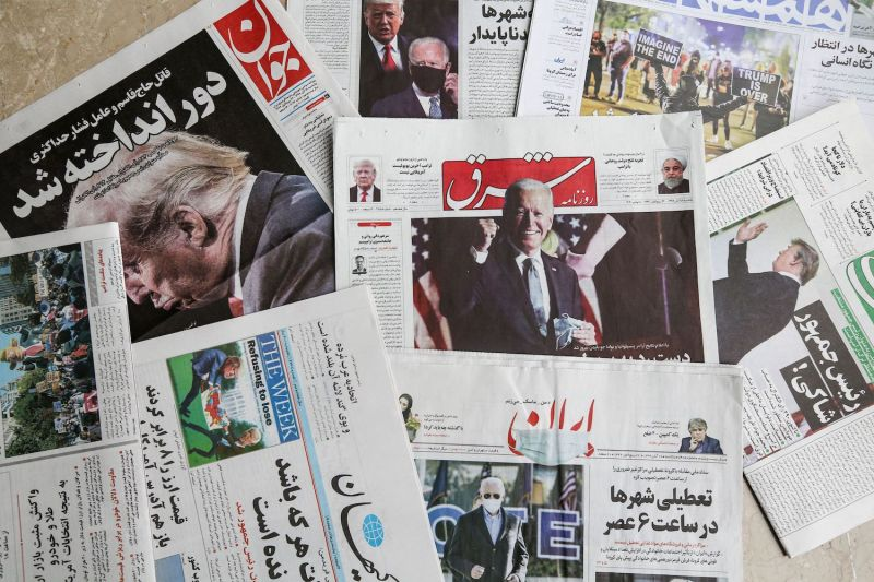 A picture of the front pages of Farsi newspapers with headlines featuring the 2020 U.S. presidential election results in Tehran on Nov. 8.