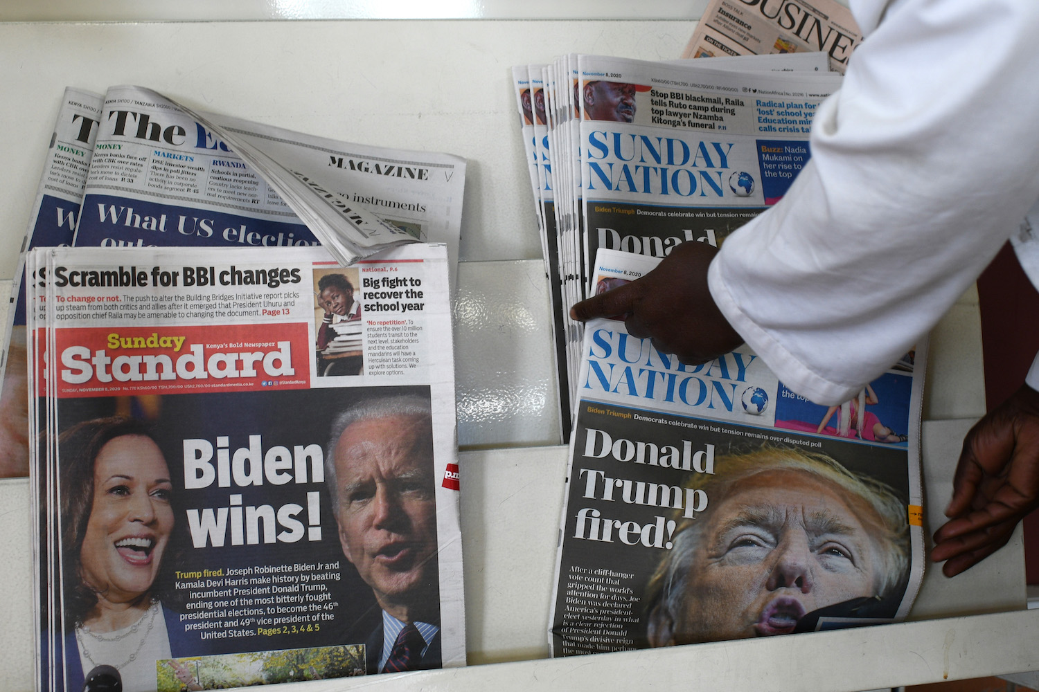 "Kenyan daily newspapers with the headlines ""Donald Trump fired"" and ""Biden wins"" in Nairobi on Nov. 8."