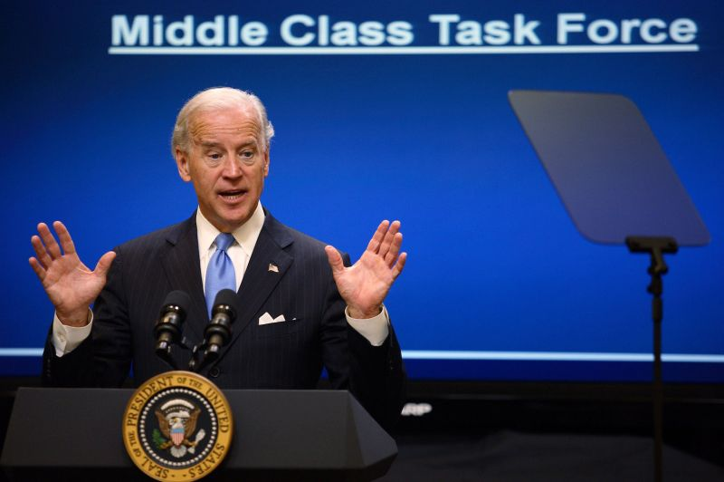 As U.S. vice president, Joe Biden appears at a meeting of the Middle Class Task Force at the White House on Jan. 25, 2010.