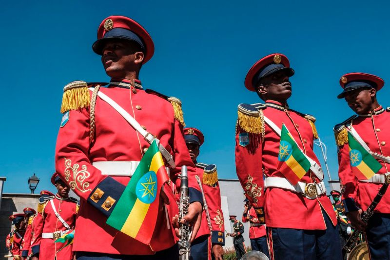 Members of a military band attend an event to honor Ethiopia's national defense forces in Addis Ababa, on Nov. 17.