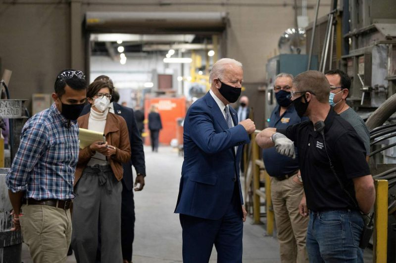 Democratic presidential nominee Joe Biden visits an aluminum manufacturing facility in Manitowoc, Wisconsin, on Sept. 21.