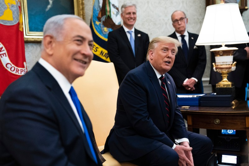 U.S. President Donald Trump and Israeli Prime Minister Benjamin Netanyahu participate in a meeting in the Oval Office of the White House in Washington on Sept. 15.