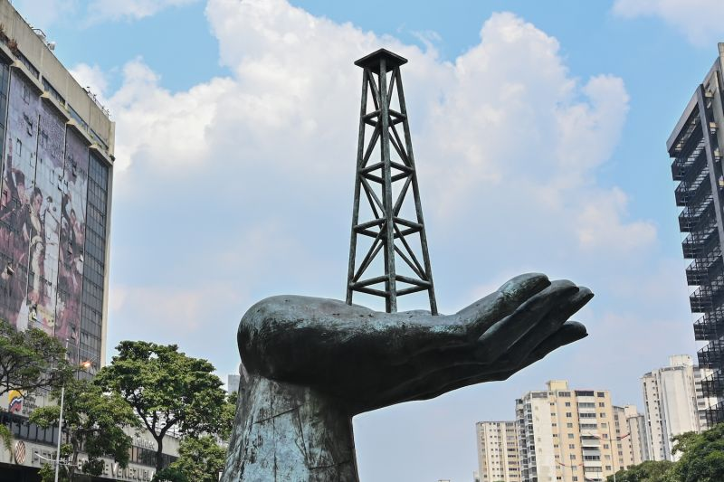 View of the Peace Monument outside the headquarters of Venezuelan state-owned oil company PDVSA in Caracas on April 22.