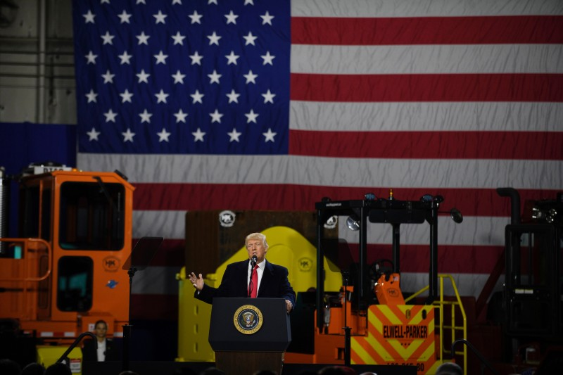 U.S. President Donald Trump speaks to supporters at a rally at H&K Equipment in Coraopolis, Pennsylvania, on Jan. 18, 2018.