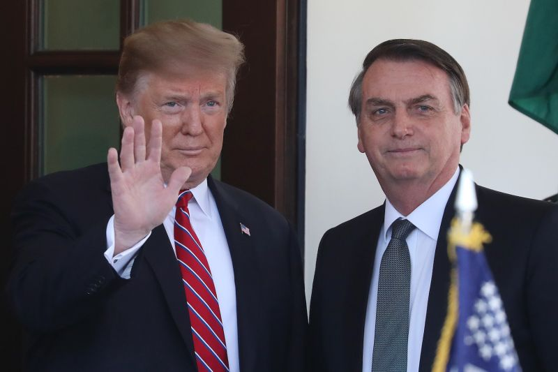 U.S. President Donald Trump greets Brazilian President Jair Bolsonaro on his arrival at the West Wing of the White House on March 19, 2019.