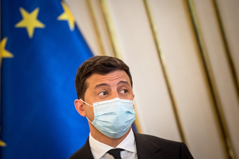 Ukrainian President Volodymyr Zelensky wears a protective face mask during a welcome ceremony at the presidential palace in Bratislava, Slovakia, on Sept. 24.