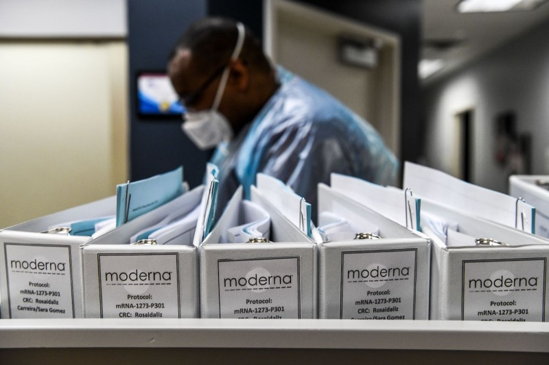 Biotechnology company Moderna protocol files for COVID-19 vaccinations are kept at the Research Centers of America in Hollywood, Florida, on August 13, 2020.