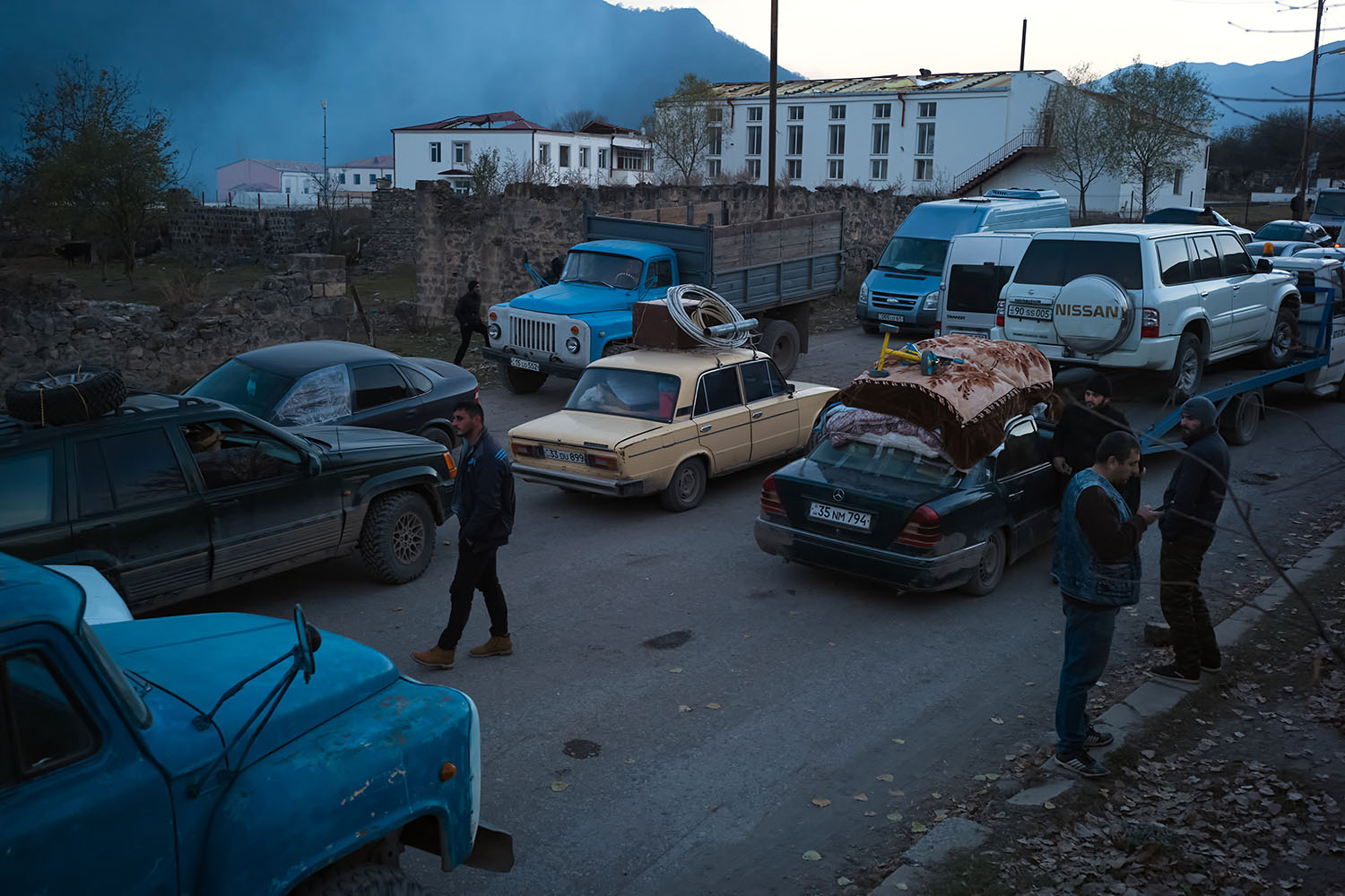 Armenians sit in gridlocked traffic in Kalbajar on Nov. 14 as they flee the territories in Nagorno-Karabakh that will be handed over to Azerbaijan.