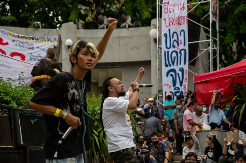 Rap Against Dictatorship performs during a demonstration at the October 14th Memorial in Bangkok on Aug. 27.