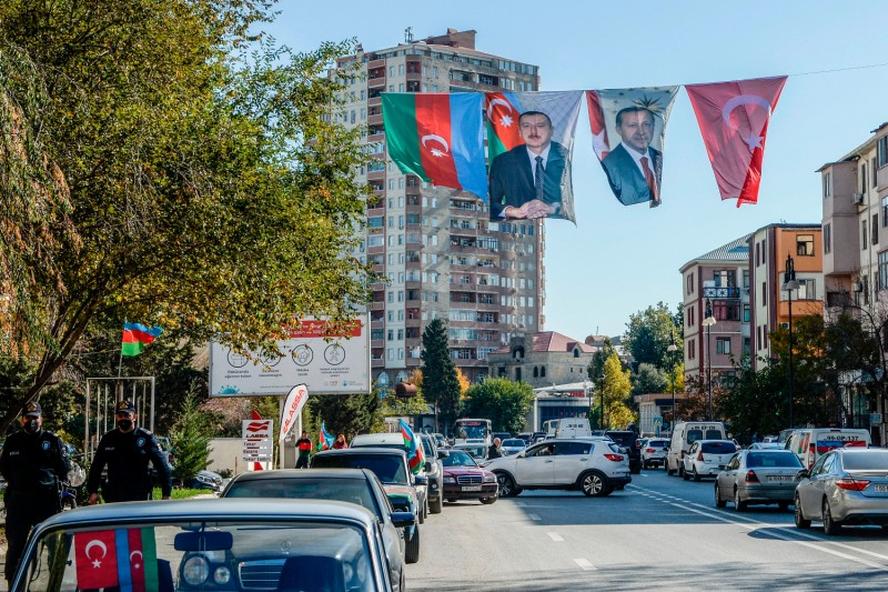 Portraits of Ilham Aliyev and Recep Tayyip Erdogan hang in Baku, Azerbaijan.
