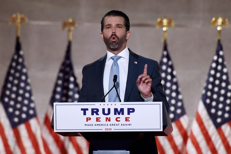 Donald Trump Jr. speaks during the first day of the Republican National Convention at the Mellon Auditorium in Washington on Aug. 24.