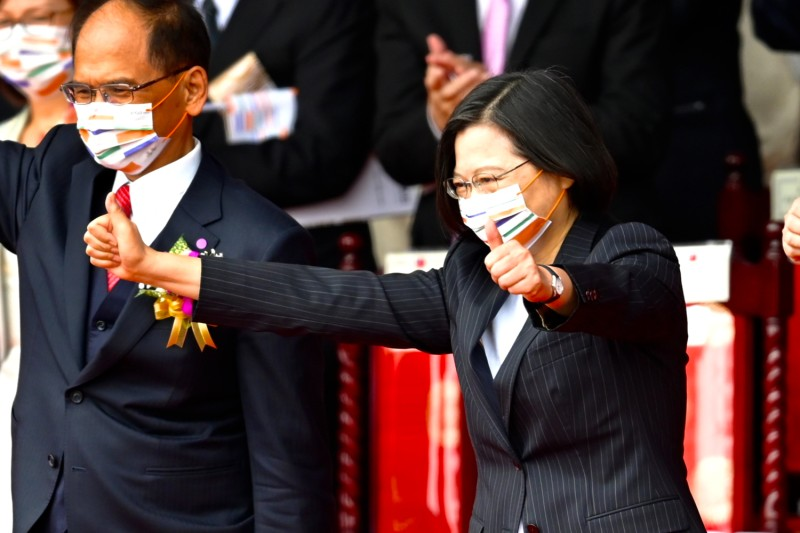 Taiwanese President Tsai Ing-wen gestures in front of the Presidential Office in Taipei on Oct. 10.