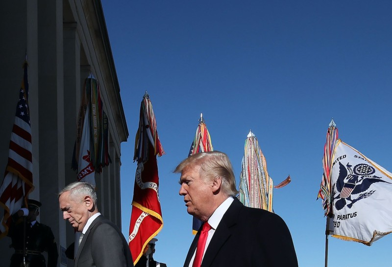 U.S. President Donald Trump and then-Defense Secretary Jim Mattis