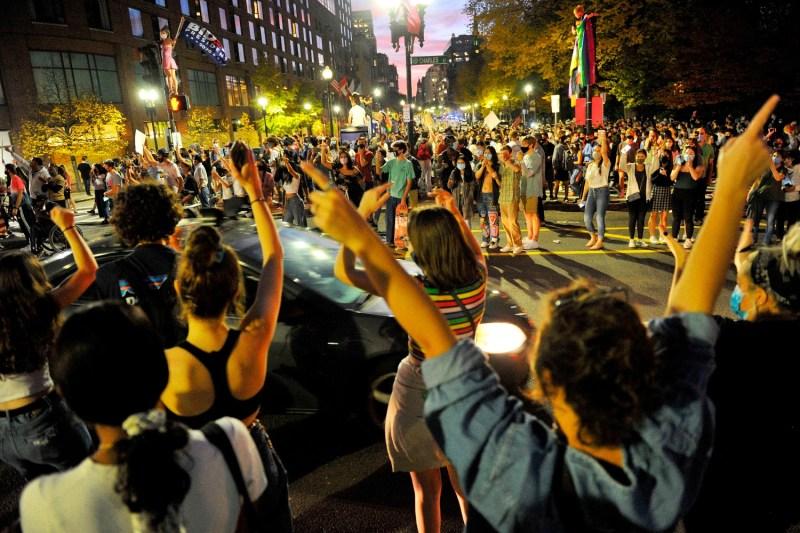 People celebrate Biden's election in Boston