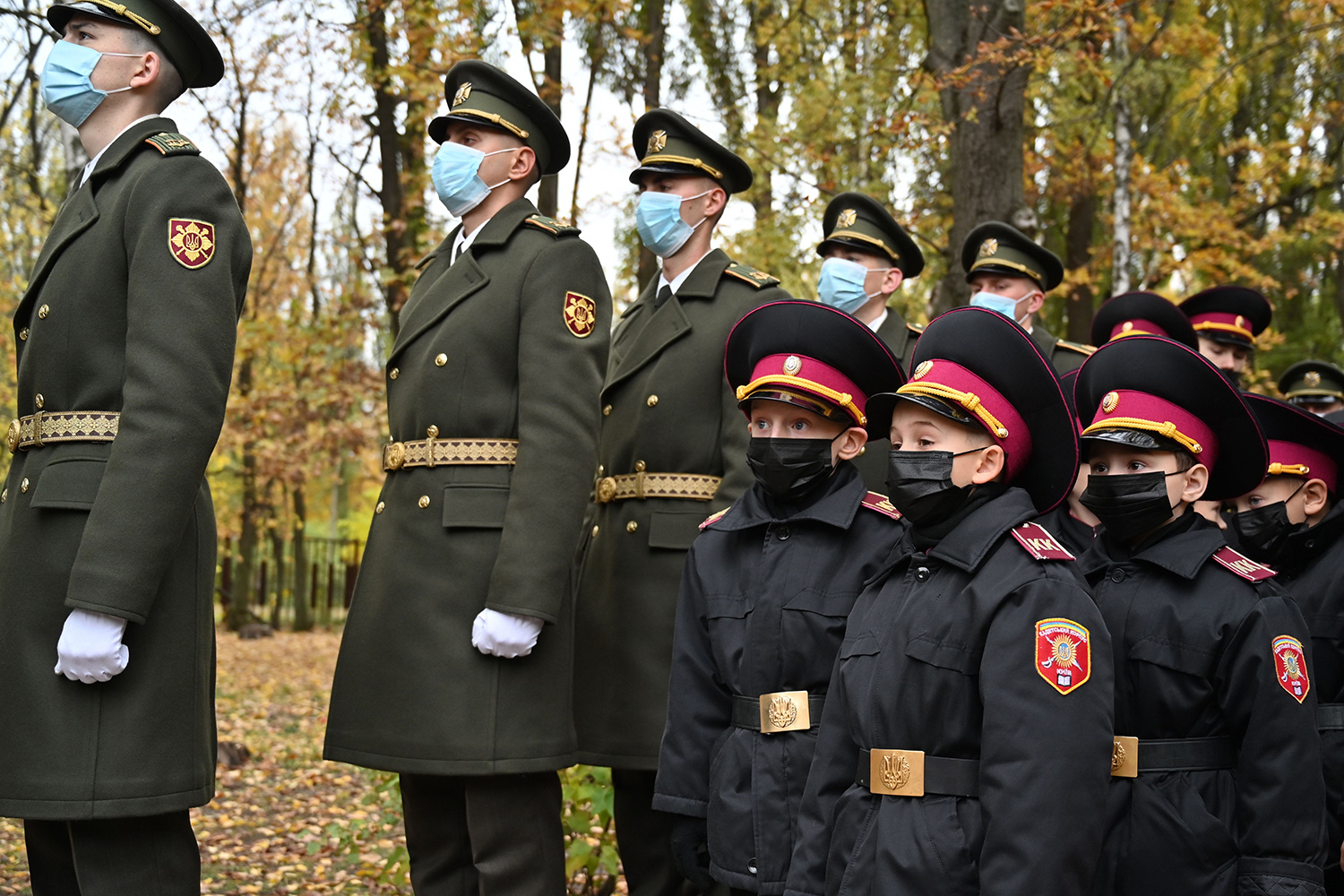 Young Ukrainian cadets of the military boarding school in Kiev attend a ceremony Nov. 6. Eighty-five cadets, some of them children of the servicemen who perished during the war with Russia-backed separatists, took shoulders straps and swore an oath during the ceremony. SERGEI SUPINSKY/AFP via Getty Images