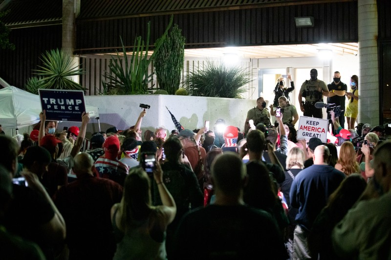 U.S. President Donald Trump supporters gather to protest the election results at the Maricopa County Elections Department office on November 4, 2020 in Phoenix, Arizona.