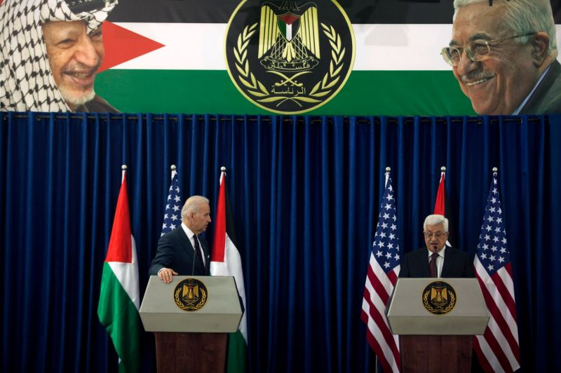 Then-U.S. Vice President Joe Biden holds a joint press conference with Palestinian President Mahmoud Abbas in Ramallah on March 10, 2010.