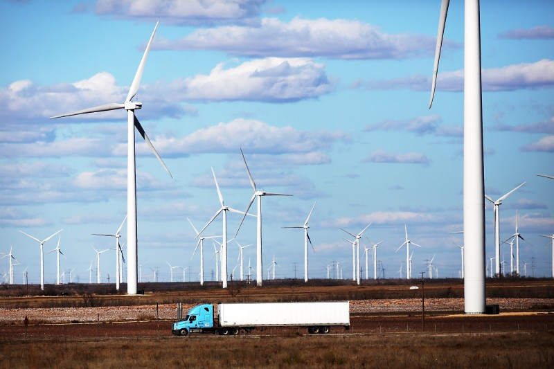 Wind turbines at a wind farm in Colorado City, Texas on Jan. 21, 2016.