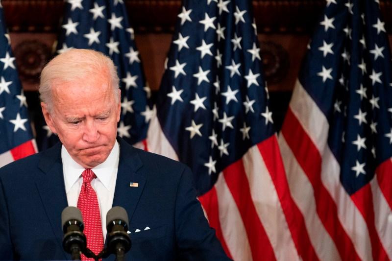 Democratic presidential candidate Joe Biden speaks at Philadelphia City Hall on June 2.