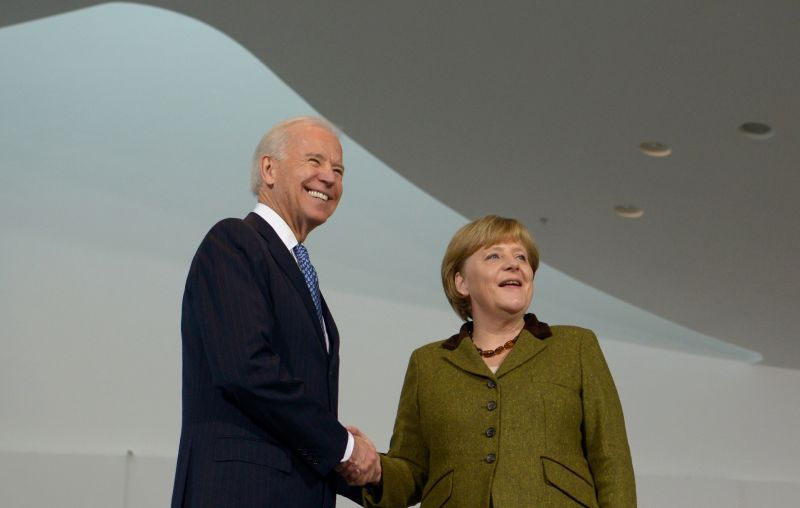 U.S. then-Vice President Joe Biden and German Chancellor Angela Merkel at the chancellery in Berlin on Feb. 1, 2013.
