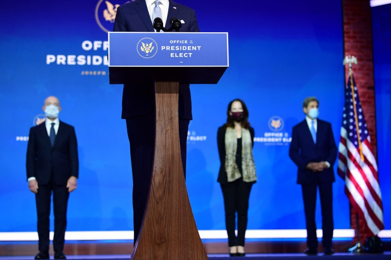 U.S. President-elect Joe Biden introduces key foreign policy and national security nominees and appointments at the Queen Theatre on Nov. 24 in Wilmington, Delaware.