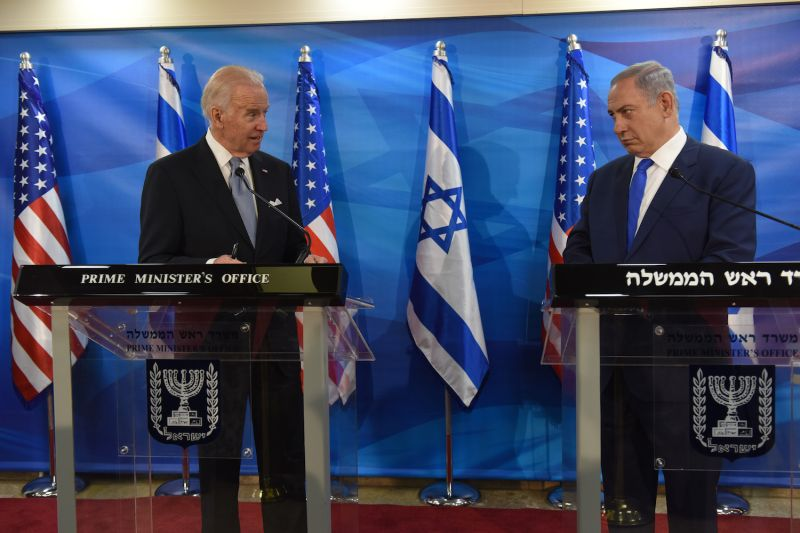 Then-U.S. Vice President Joe Biden (L) and Israeli Prime Minister Benjamin Netanyahu give joint statements to the press in the prime minister's office in Jerusalem on March 9, 2016.