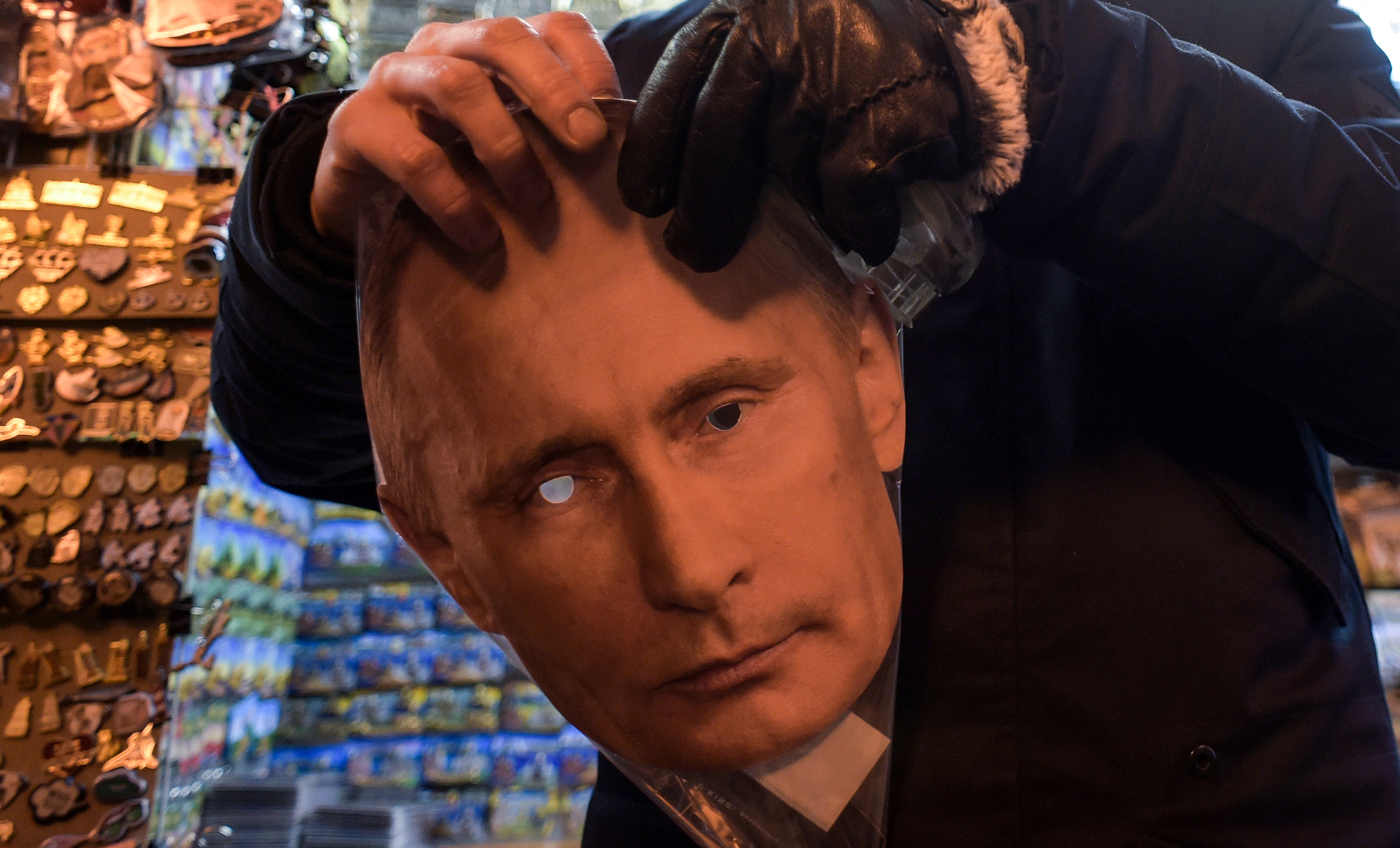 A mask of Russian President Vladimir Putin on sale at a souvenir stall in Saint Petersburg on Jan. 29, 2020.